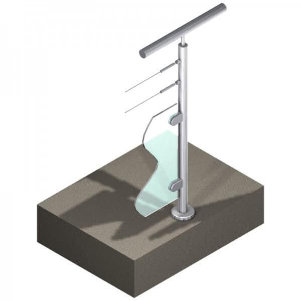 Poteau pour verre + 2 câbles - Départ droite - Inox 304