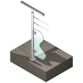 Poteau pour verre + 2 câbles - Départ gauche - Inox 304