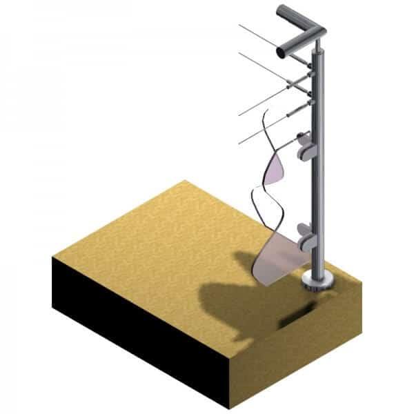 Poteau pour verre + 2 câbles - Double départ 90° - Inox 304