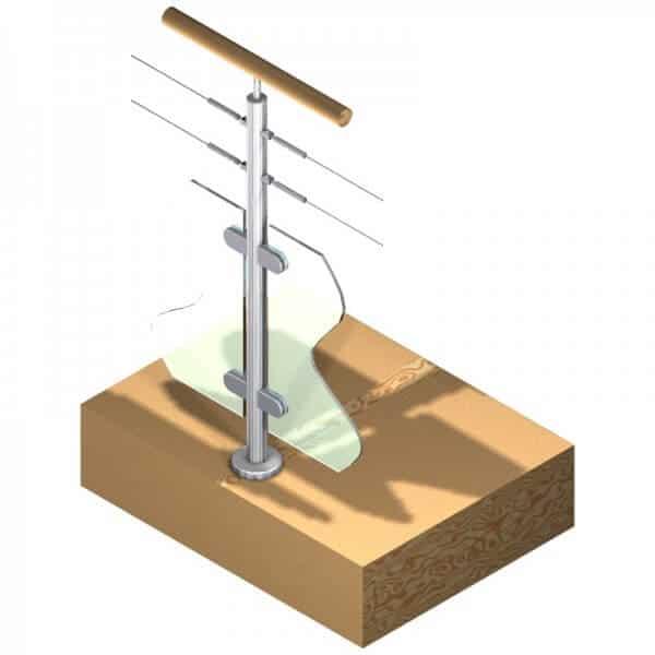 Poteau pour verre + 2 câbles - Double départ - Inox 304