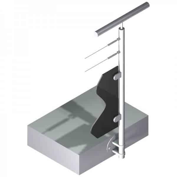 Poteau latéral pour verre + 2 câbles - Départ droite - Inox 304