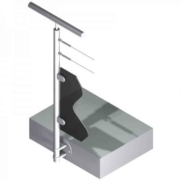 Poteau latéral pour verre + 2 câbles - Départ gauche - Inox 304