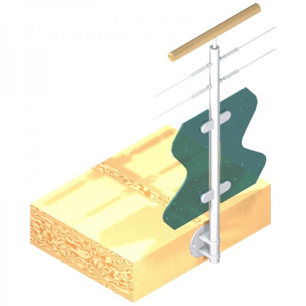Poteau latéral pour verre + 2 câbles - Double départ - Inox 316