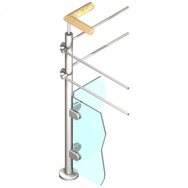 Poteau Inox - Verre + 2 barres  - Angle 90°