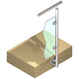 Poteau latéral Inox 316 - Verre - Départ droite