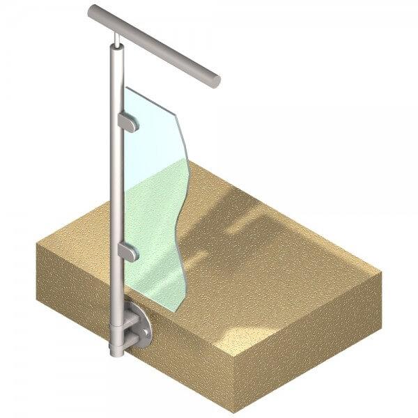 Poteau latéral Inox 316 - Verre - Départ gauche