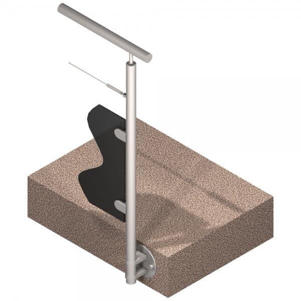 Poteau latéral Inox 316 - Verre + 1 câble - Départ droite