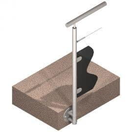 Poteau latéral Inox 316 - Verre + 1 câble - Départ gauche
