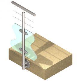 Poteau latéral Inox 304 - Verre + 2 câbles - Intermédiaire