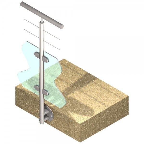 Poteau latéral Inox 316 - Verre + 2 câble - Intermédiaire