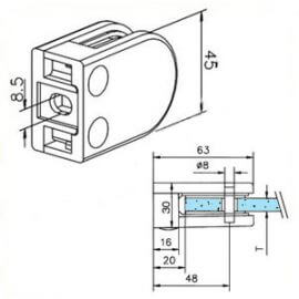 Pince à verre M22 - Zamac aspect inox - Fond plat
