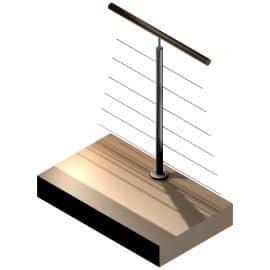 Poteau Inox 304 -6 câbles - Intermédiaire