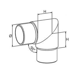 Coude angle vif - 42,4 - Inox 304