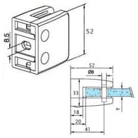 Pince à verre M26 - Zamac aspect inox - Fond plat