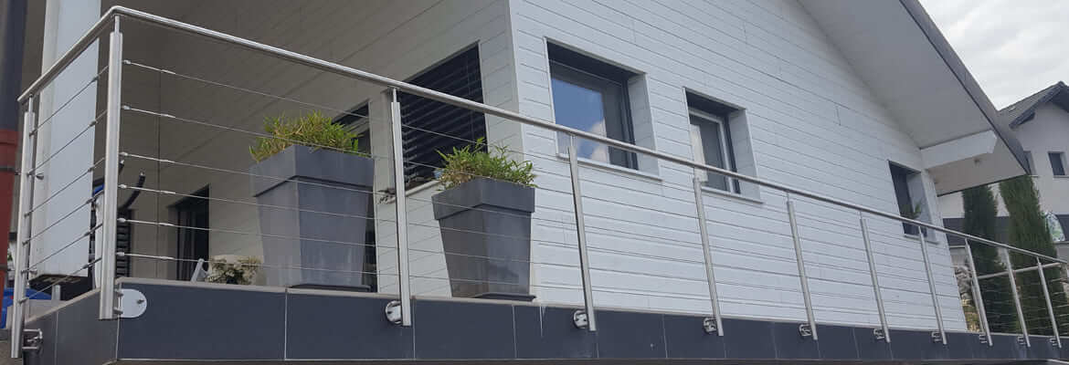 garde-corps inox fixation a l'anglaise sur terrasse