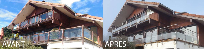 renovation terrasse garde-corps inox verre et barres