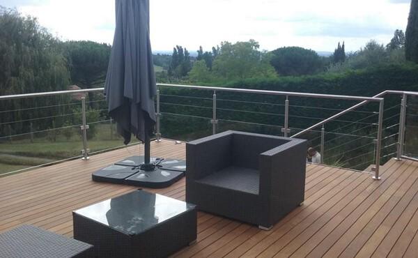 terrasse bois avec garde fou inox