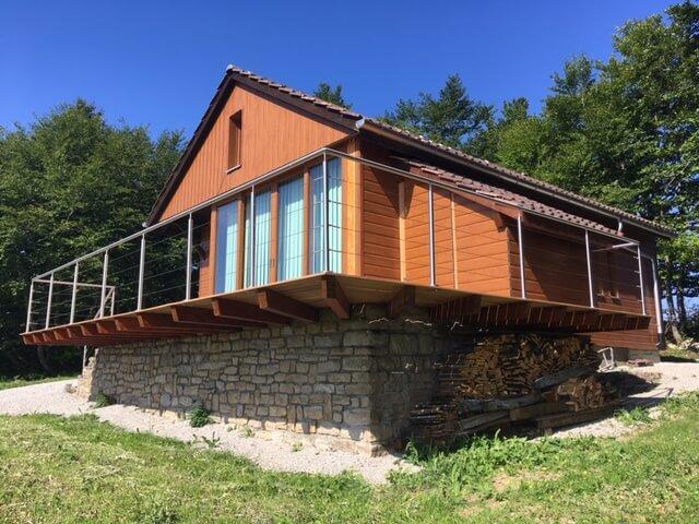 garde-corps inox terrasse maison bois